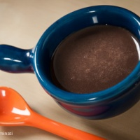 Deliciously soft bavarian cream with chocolate-caramel sauce.