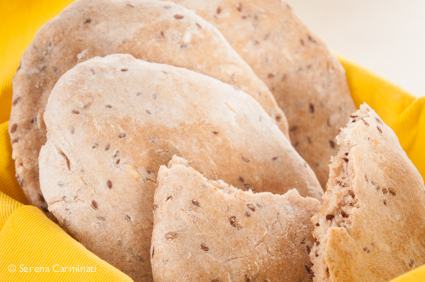 Chickpea hummus with multigrain pita bread (front shot pita bread)