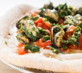 Tasty Pizza With Cannellini Bean Hummus And Mussels