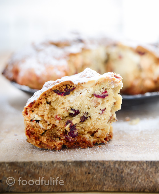 Cranberry, white chocolate and hazelnut Pandolce