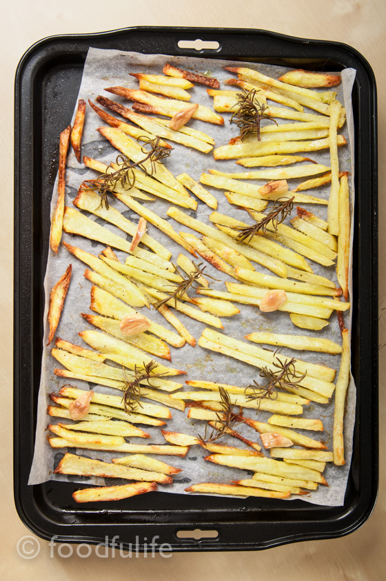 Skinny fries with garlic and rosemary