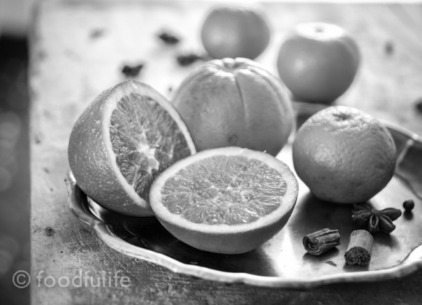 Still life with oranges and spices (black and white photography) foodfulife