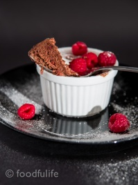 Dark Chocolate Soufflé With Fresh Raspberries-10