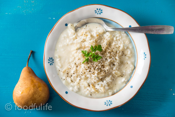 Pear And Gorgonzola Risotto (no oil, no butter)   Foodfulife
