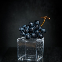 Food Photography : Black Grapes On Small Box