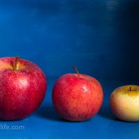 Food Photography : Apples On Blue Background