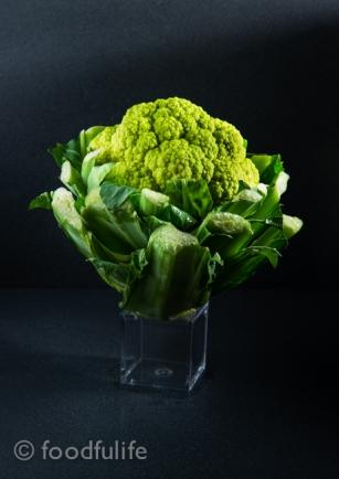 Green cauliflower on little box