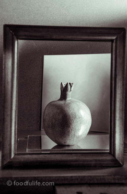 Pomegranate with picture frame (black and white)