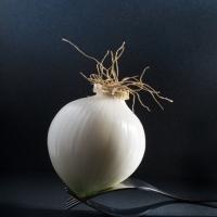 Peeled White Onion On Forks