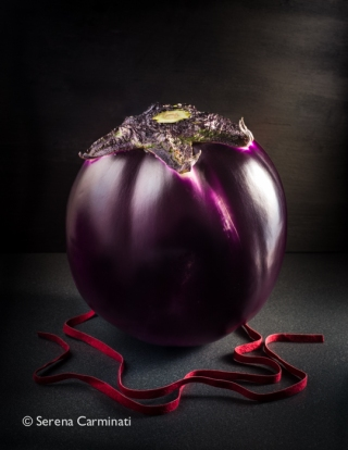 Aubergine with red lace.