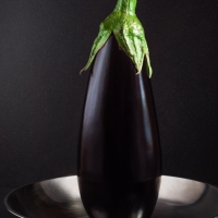 Aubergine With Metal Dish