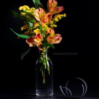 Orange Alstroemeria With Solidago Flowers