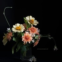 Bouquet of Zinnia and Chrysanthemum Flowers